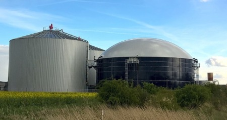 An image of a typical looking agricultural anaerobic digestion plant.