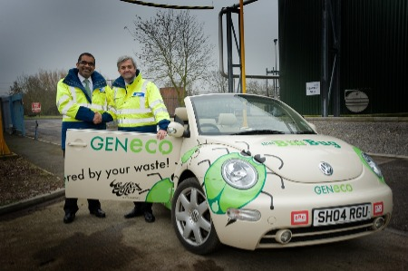 Image shows a car powered by biogas from the anaerobic digestion process.